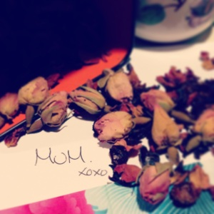 Ruby Red Rose Hip tea beside my favourite word