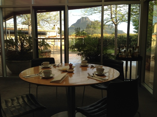 Dining Room at The Royal Mail, Dunkeld, Vic - definite destination for accommodation, food and wine at the foot of the Grampians (see the mountain out the window?)