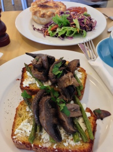 Polenta and parmesan loaf topped with Persian feta cheese, mushrooms and asparagus, BrightBird Cafe, Warrnambool - awesome food and drinks in this little place.