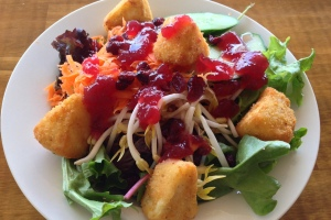 Brie (or camembert) with cranberry salad - okay I know it's FRIED cheese, but it was awesome, and anyway the salad had no dressing, only the cranberry sauce.