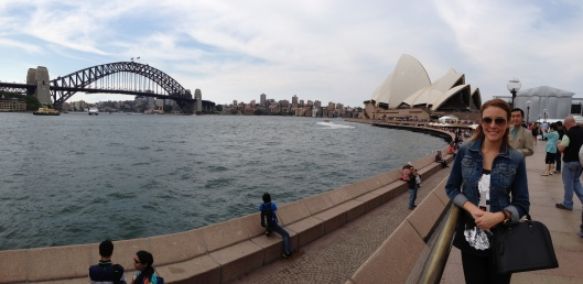 Pan of Sydney Harbour Bridge and Opera House
