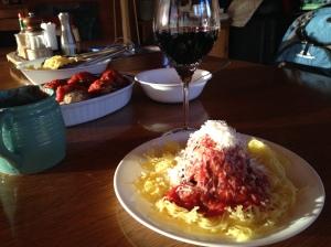 Meatballs/spaghetti squash with Bleasdale Shiraz