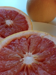 Pink grapefruit with pink salt