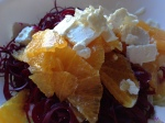 spiral cut beet with fennel, orange and feta salad