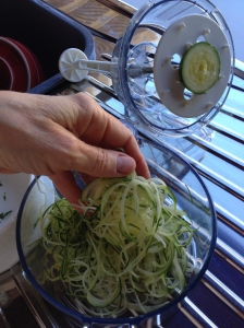 The little 'cap' of zucchini that is left over, the remainder is spiral cut