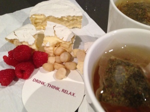 Herbal tea and a decadent snack