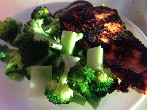 Grilled salmon and broccoli