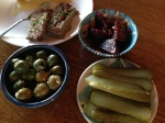 'deli' dinner, marinated beets, dill pickle, olives with fresh lemon zest, and homemade paté