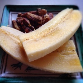 toasted pecans and banana