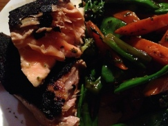 grilled salmon and stir fried vegetables