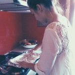 Allison making pork belly