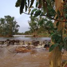 A view up the normally dry riverbed of the Todd River.