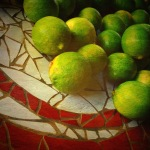 limes on mosaic table
