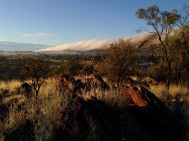 Clouds shroud MacDonnell Ranges like a duvet