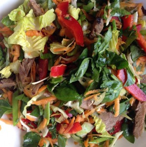 My version of Vietnamese Beef salad--lots of herbs and leafy greens, capsicum and an Asian dressing
