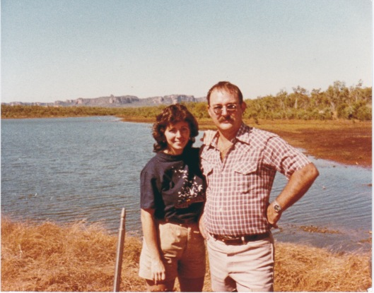 Us at Jabiru, Mt Brockman and Ranger Uranium Mine in background