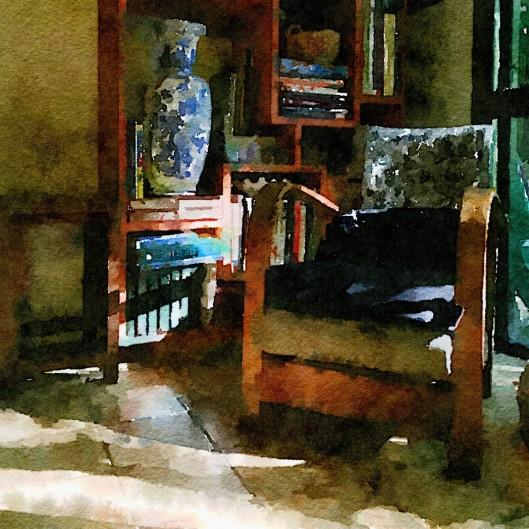 friends living room in filtered light