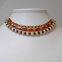 Carnelian, pearl, crystal neclace convertible to bracelet ~2005