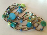 Multi turquoise, magnesite, ceramic, crystal, glass