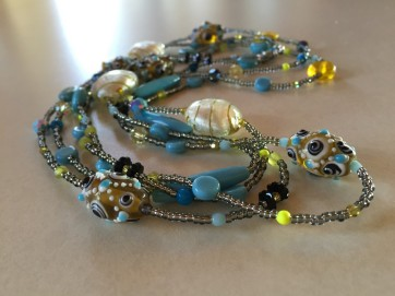 Handblown glass, foil glass, czech glass, swarovski crystal, new olive jade.