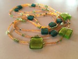 Foil glass, Swarovski crystal, peridot, chrysoprase, glass