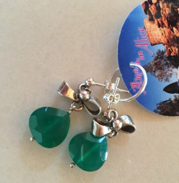 Green Onyx with Sterling studs