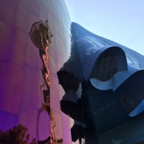 Reflection of Space Needle in Frank Gehry designed, EMP Museum