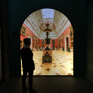 My silhouette looking at a projected image of the room in which I actually stood in the Hermitage three years ago.