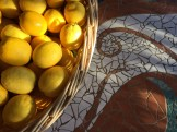 lemon crop on mosaic table