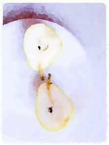 Pear halves, photo edited using Waterlogue