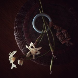 Native lillies and vintage Chinese basket