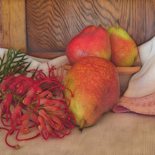 Grevillea and Rosella Pears