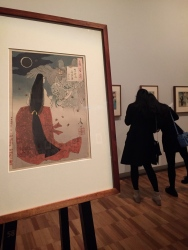 One hundred aspects of the Moon exhibition at Art Gallery New South Wales. An eclipse of the moon depicted by artist Yoshitoshi, late 1800's.