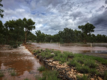 Todd River flooding the causeway we normally travel to town