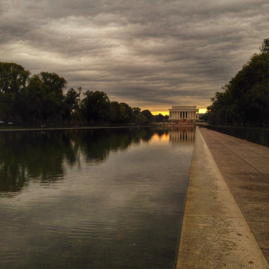 Lincoln Memorial, Washington DC,--cloudy skies but light on the horizon