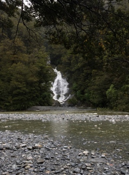 Fantail falls, along the very wet drive from Haast to Queenstown