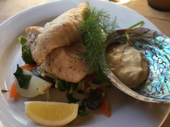 Blue Cod with fresh vegetables and home made tartar sauce