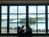 Niagara Falls, Canada side looking at the USA. Mystery couple having lunch.