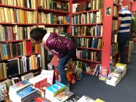 Perusing the shelves sometimes presents physical challenges!